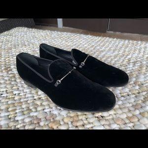 New Gucci Black Velvet Slipper Loafers